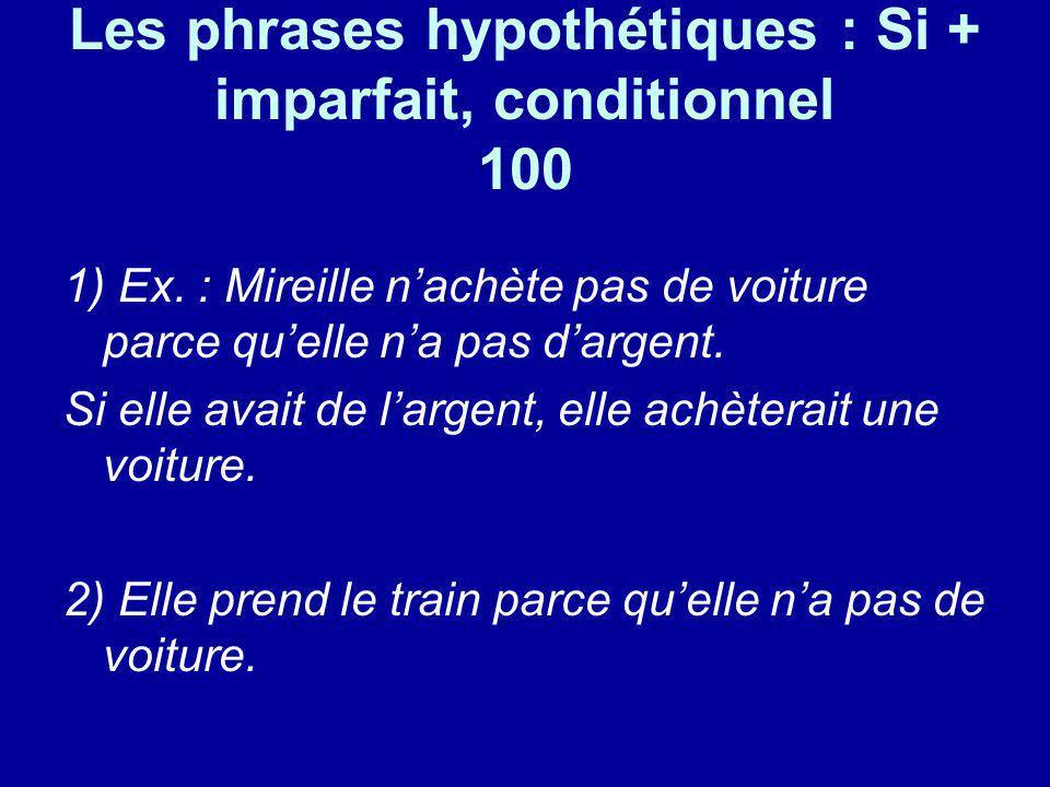 Les phrases hypothétiques : Si + imparfait, conditionnel 100