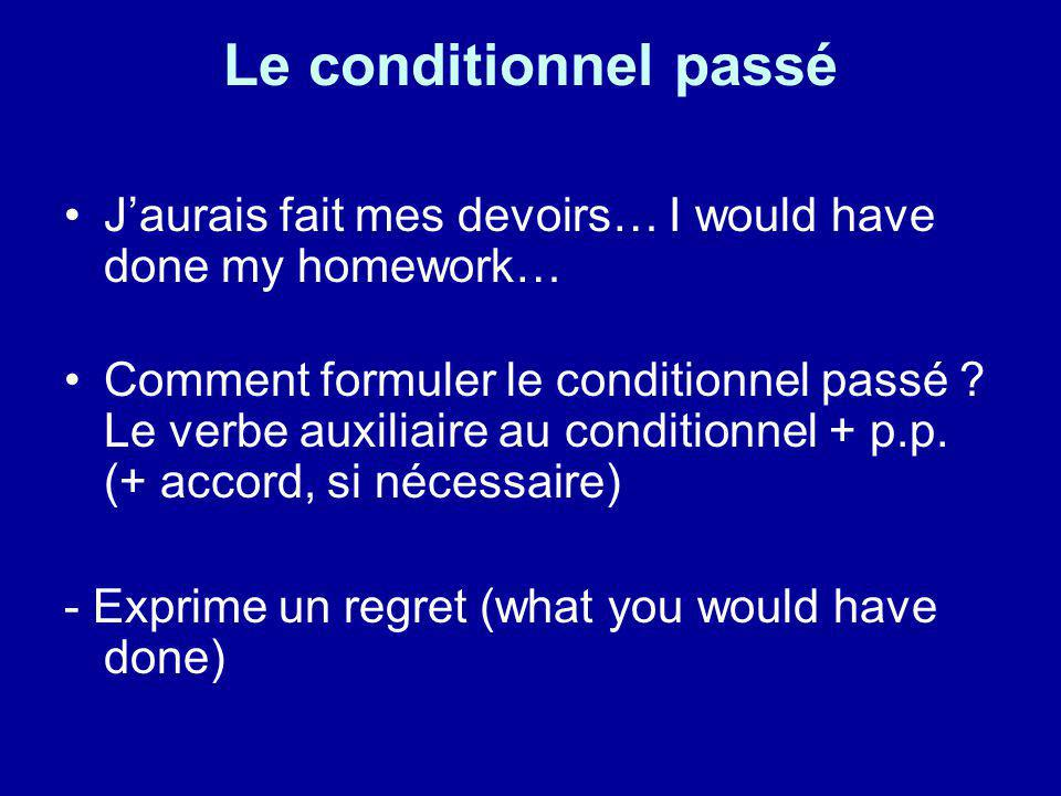 Le conditionnel passé J'aurais fait mes devoirs… I would have done my homework…