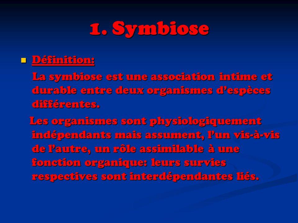 1. Symbiose Définition: La symbiose est une association intime et durable entre deux organismes d'espèces différentes.