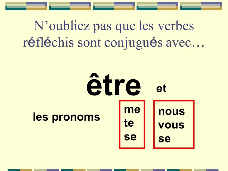 N'oubliez pas que les verbes réfléchis sont conjugués avec…