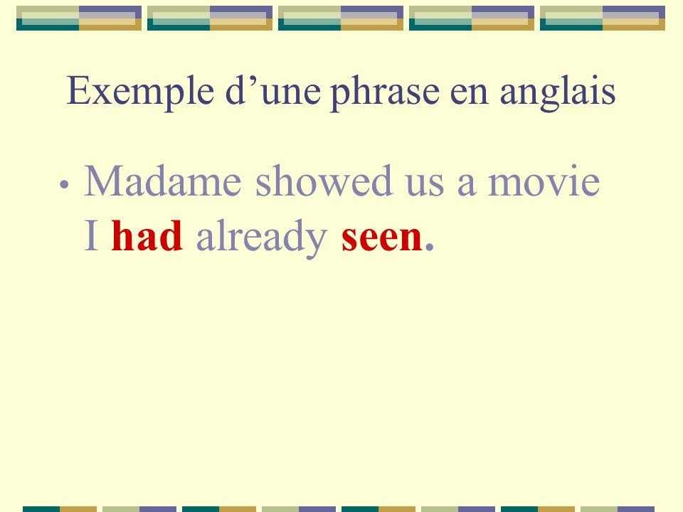 Exemple d'une phrase en anglais