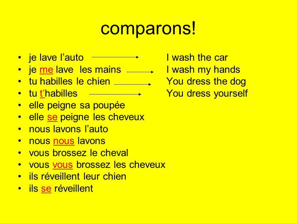 comparons! je lave l'auto I wash the car