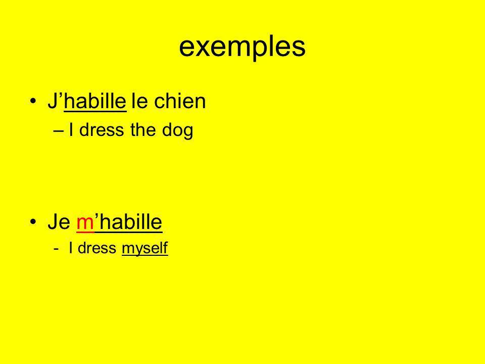 exemples J'habille le chien Je m'habille I dress the dog