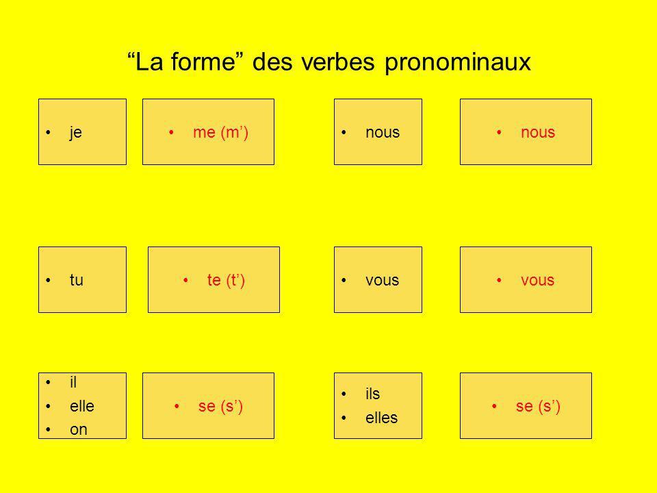 La forme des verbes pronominaux