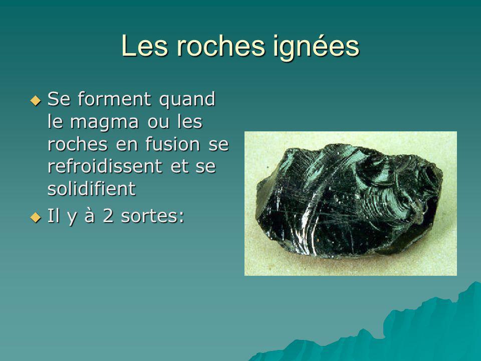 Les roches ignées Se forment quand le magma ou les roches en fusion se refroidissent et se solidifient.