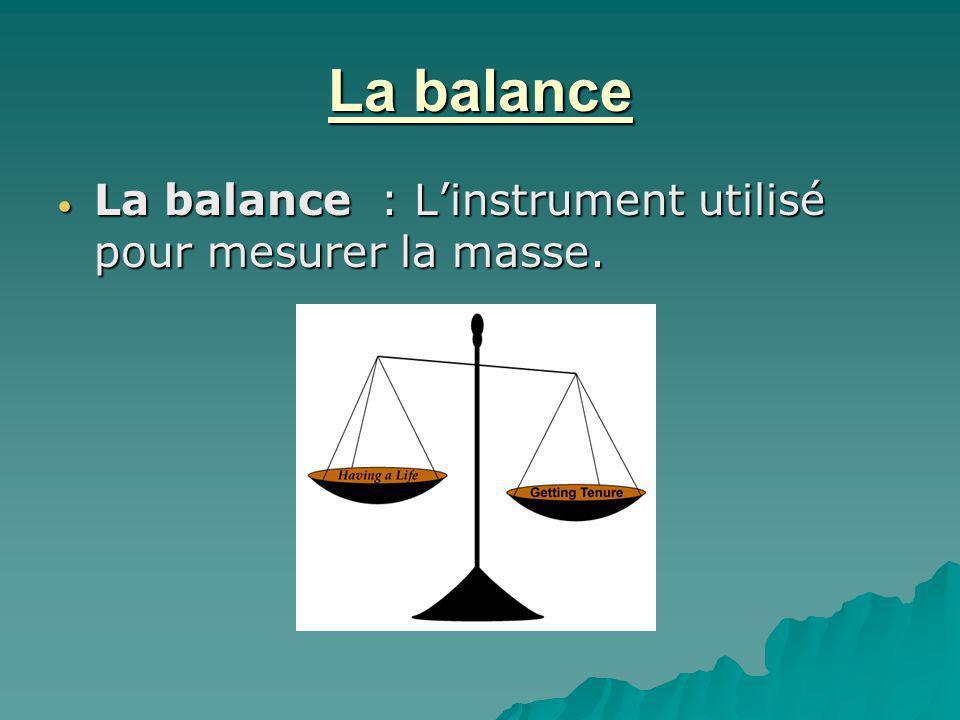 La balance La balance : L'instrument utilisé pour mesurer la masse.