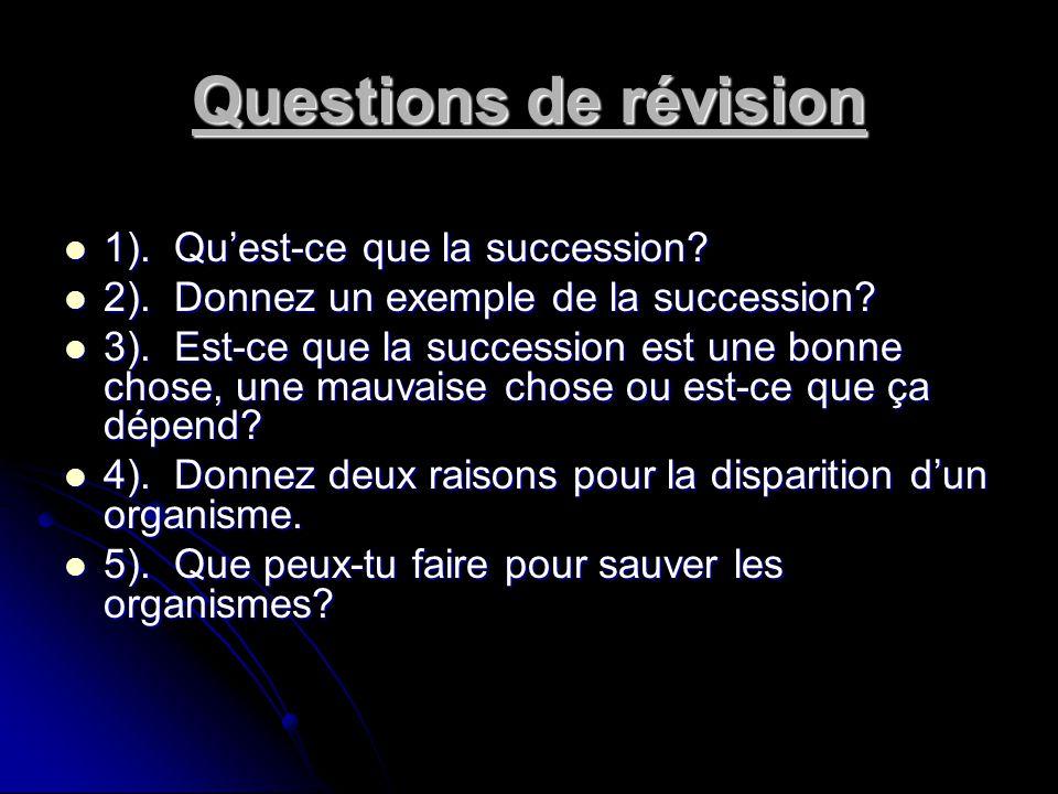 Questions de révision 1). Qu'est-ce que la succession