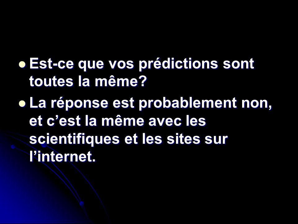 Est-ce que vos prédictions sont toutes la même