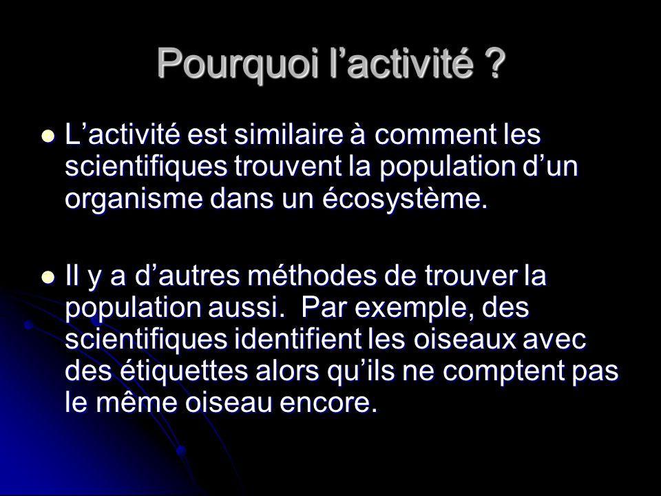 Pourquoi l'activité L'activité est similaire à comment les scientifiques trouvent la population d'un organisme dans un écosystème.