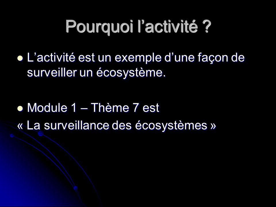 Pourquoi l'activité L'activité est un exemple d'une façon de surveiller un écosystème. Module 1 – Thème 7 est.