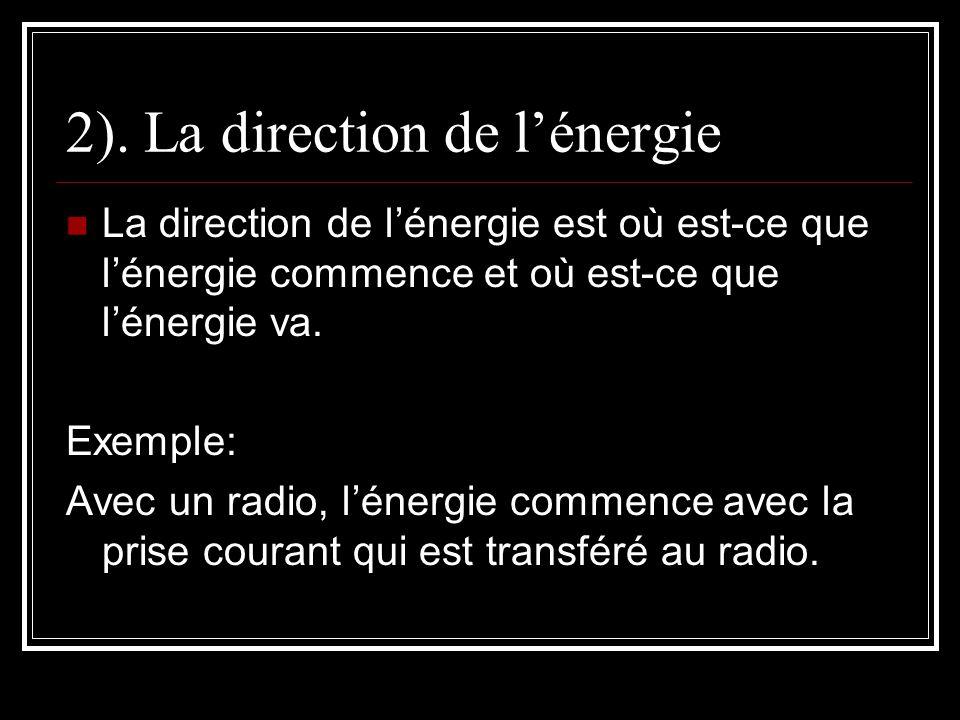 2). La direction de l'énergie
