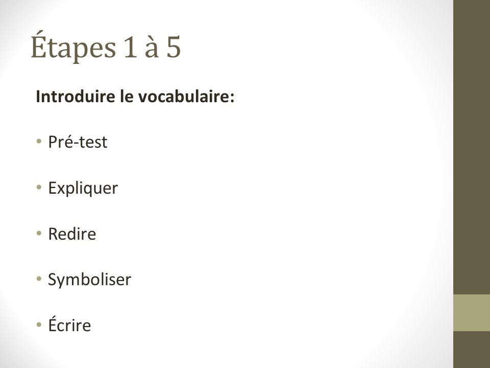 Étapes 1 à 5 Introduire le vocabulaire: Pré-test Expliquer Redire