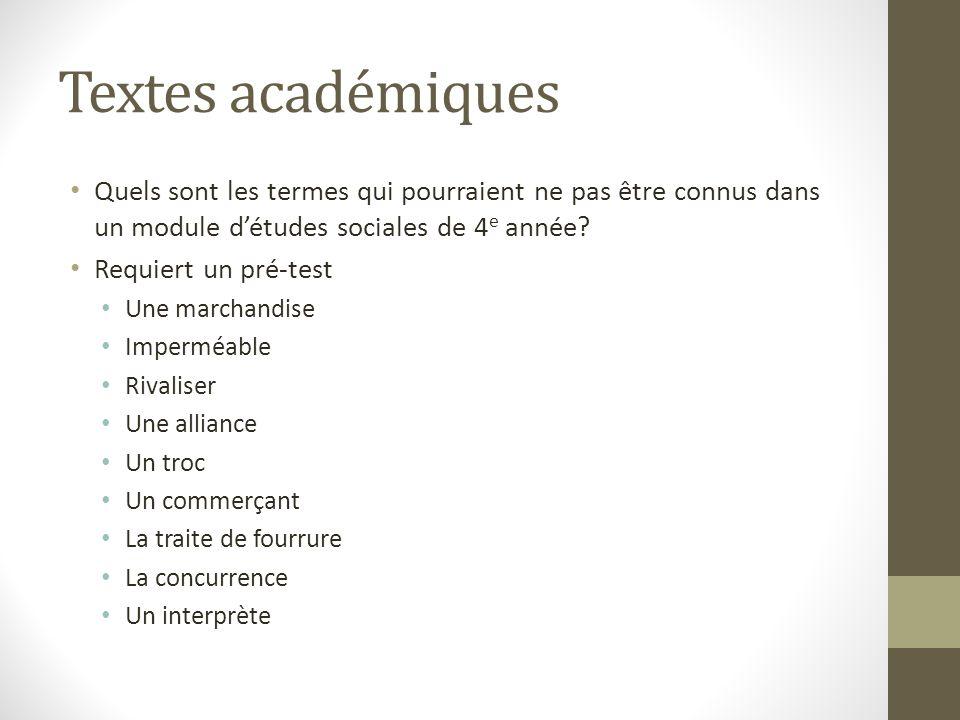 Textes académiques Quels sont les termes qui pourraient ne pas être connus dans un module d'études sociales de 4e année
