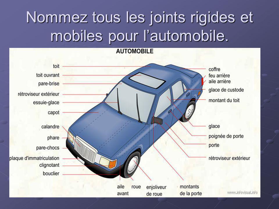 Nommez tous les joints rigides et mobiles pour l'automobile.