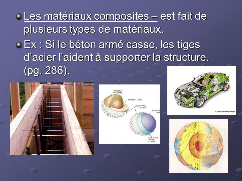 Les matériaux composites – est fait de plusieurs types de matériaux.