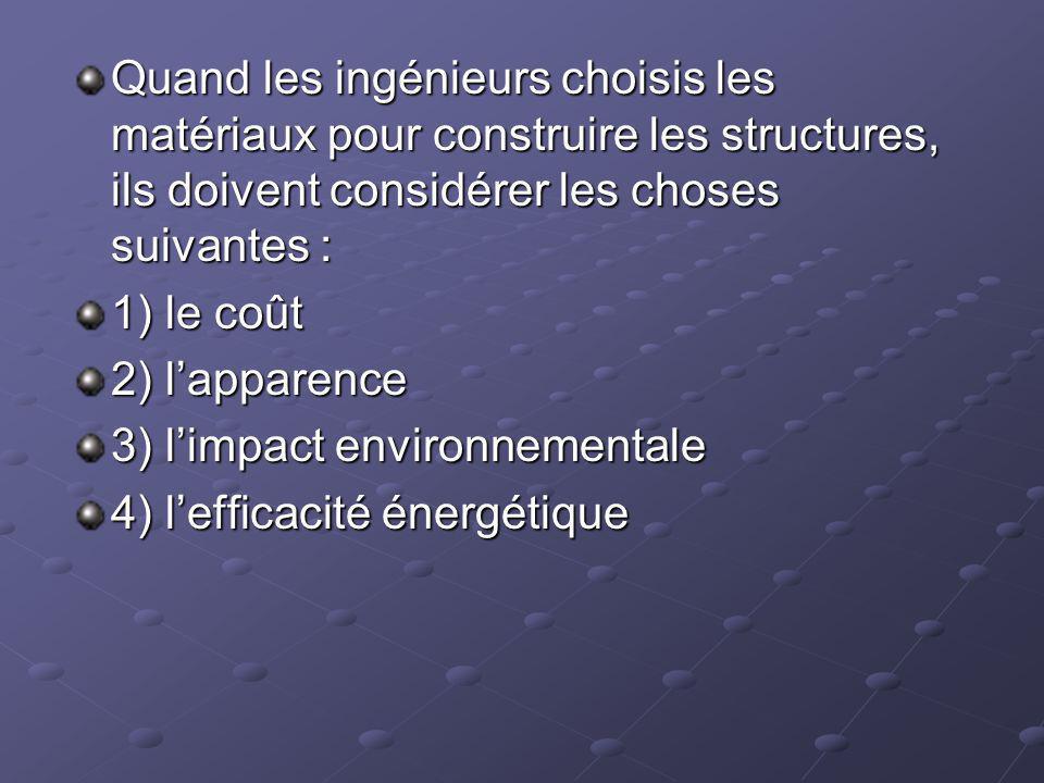 Quand les ingénieurs choisis les matériaux pour construire les structures, ils doivent considérer les choses suivantes :