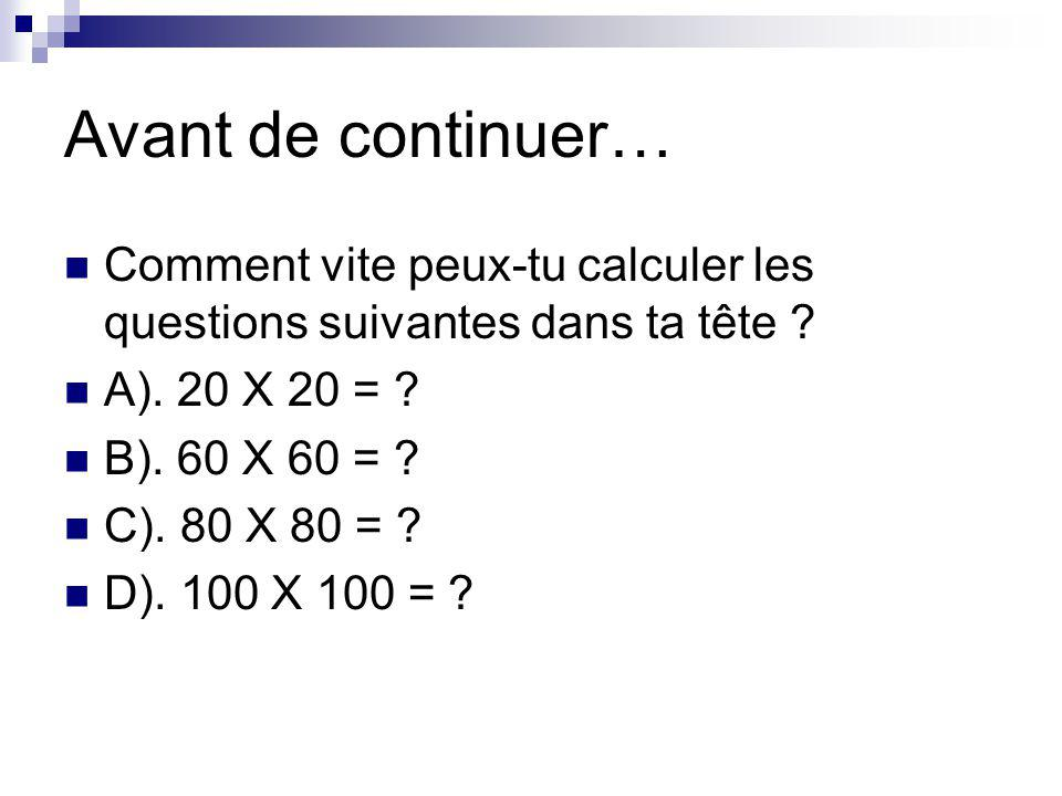 Avant de continuer… Comment vite peux-tu calculer les questions suivantes dans ta tête A). 20 X 20 =