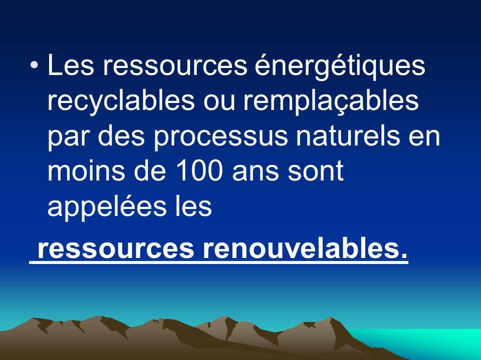 Les ressources énergétiques recyclables ou remplaçables par des processus naturels en moins de 100 ans sont appelées les