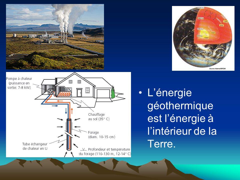 L'énergie géothermique est l'énergie à l'intérieur de la Terre.