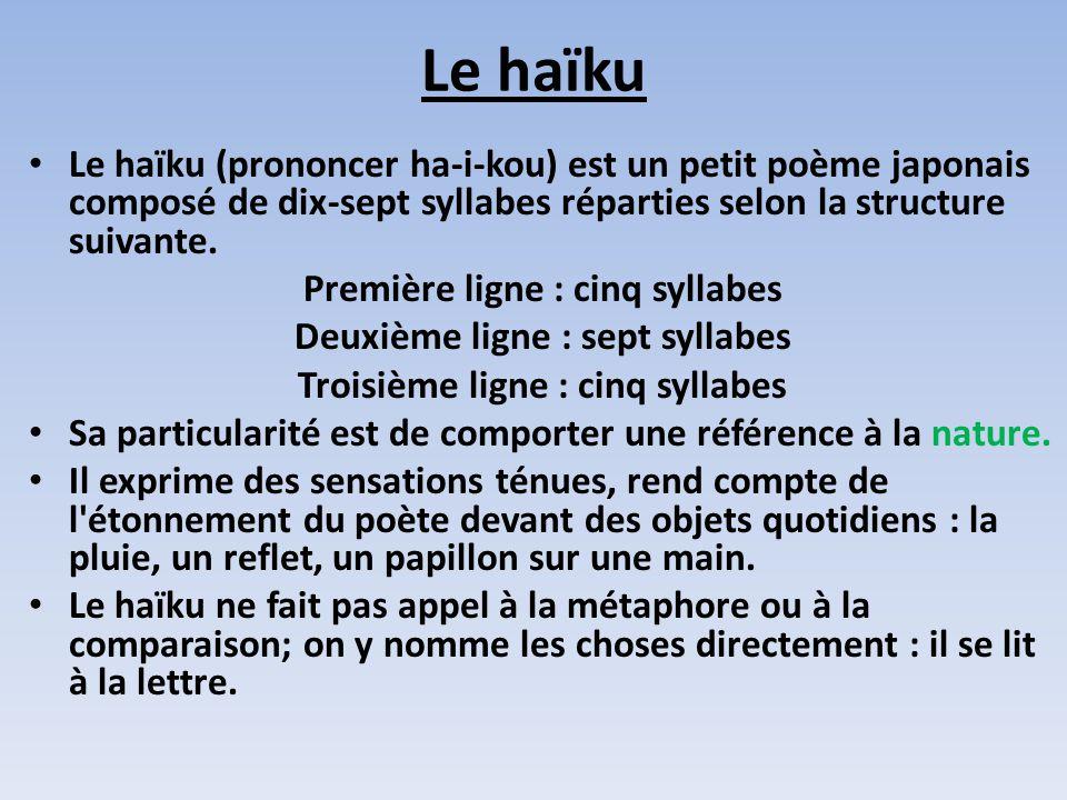Le haïku Le haïku (prononcer ha-i-kou) est un petit poème japonais composé de dix-sept syllabes réparties selon la structure suivante.