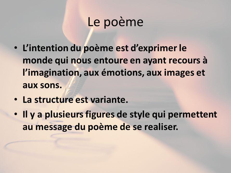 Le poème L'intention du poème est d'exprimer le monde qui nous entoure en ayant recours à l'imagination, aux émotions, aux images et aux sons.