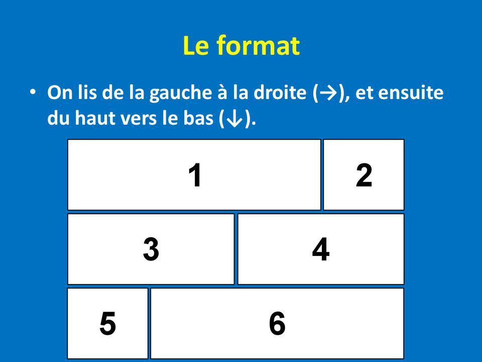 Le format On lis de la gauche à la droite (→), et ensuite du haut vers le bas (↓).