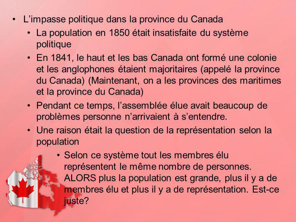 L'impasse politique dans la province du Canada