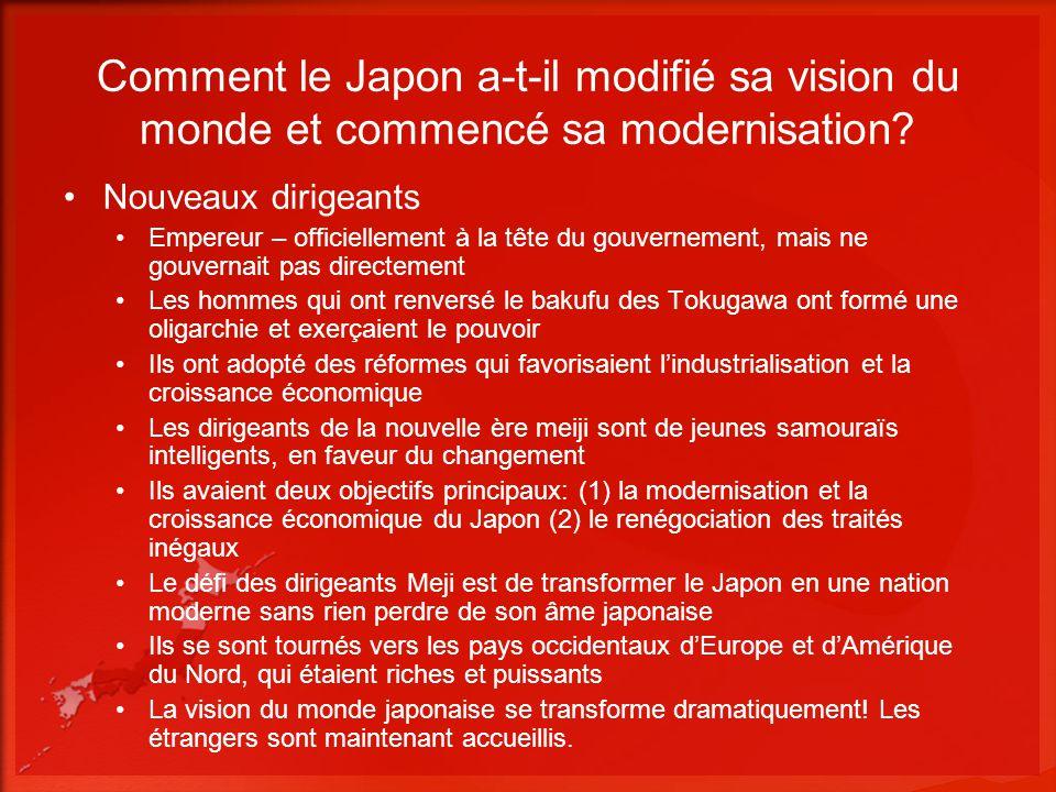 Comment le Japon a-t-il modifié sa vision du monde et commencé sa modernisation