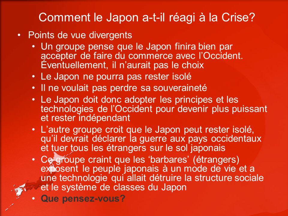 Comment le Japon a-t-il réagi à la Crise