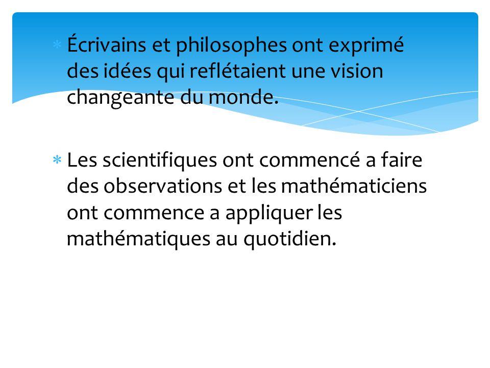 Écrivains et philosophes ont exprimé des idées qui reflétaient une vision changeante du monde.
