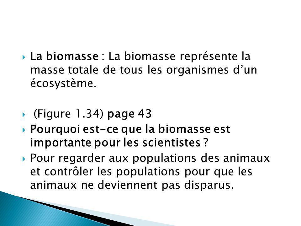La biomasse : La biomasse représente la masse totale de tous les organismes d'un écosystème.