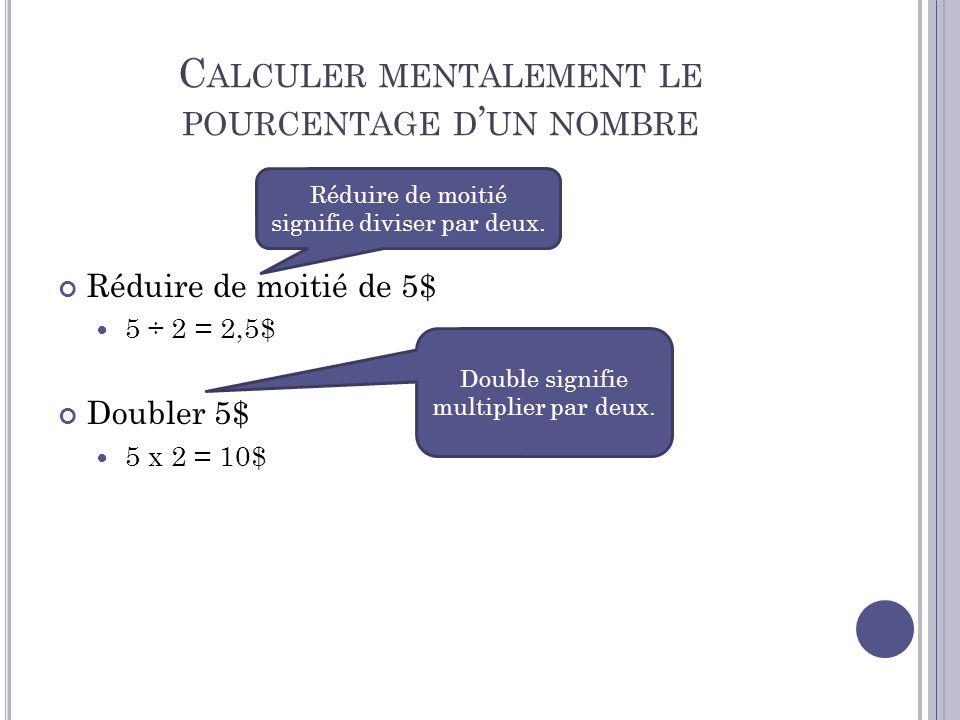 Calculer mentalement le pourcentage d'un nombre