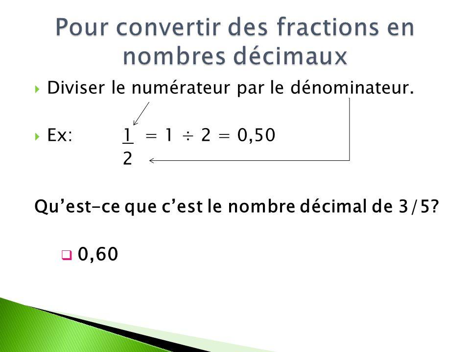 Pour convertir des fractions en nombres décimaux