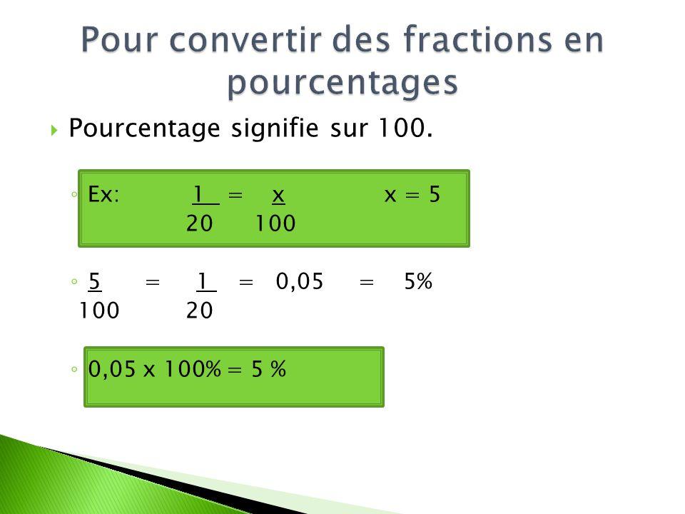 Pour convertir des fractions en pourcentages