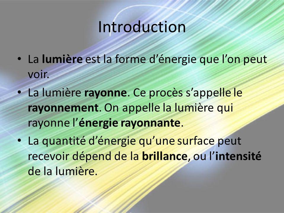 Introduction La lumière est la forme d'énergie que l'on peut voir.