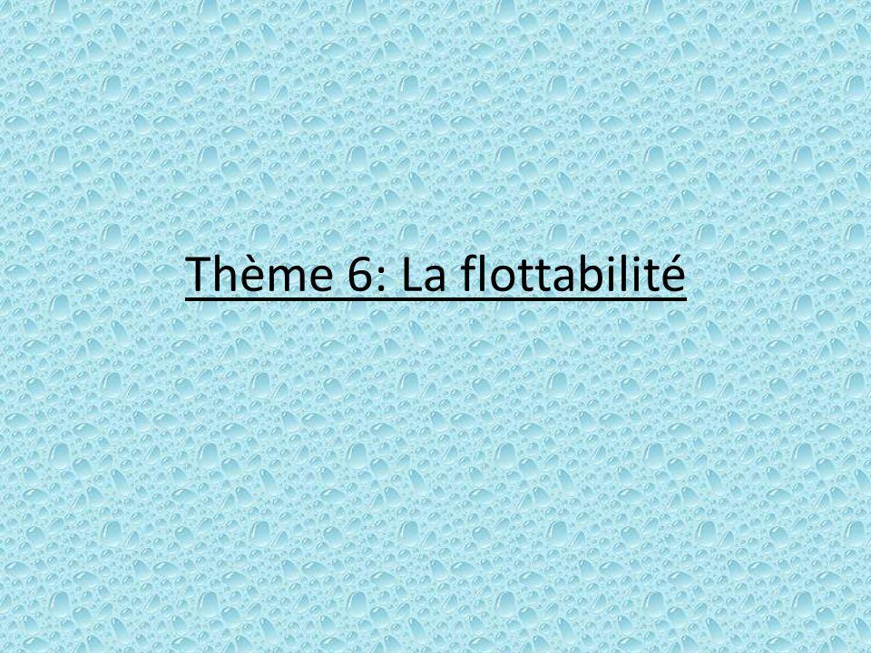 Thème 6: La flottabilité