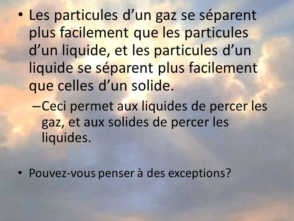 Les particules d'un gaz se séparent plus facilement que les particules d'un liquide, et les particules d'un liquide se séparent plus facilement que celles d'un solide.