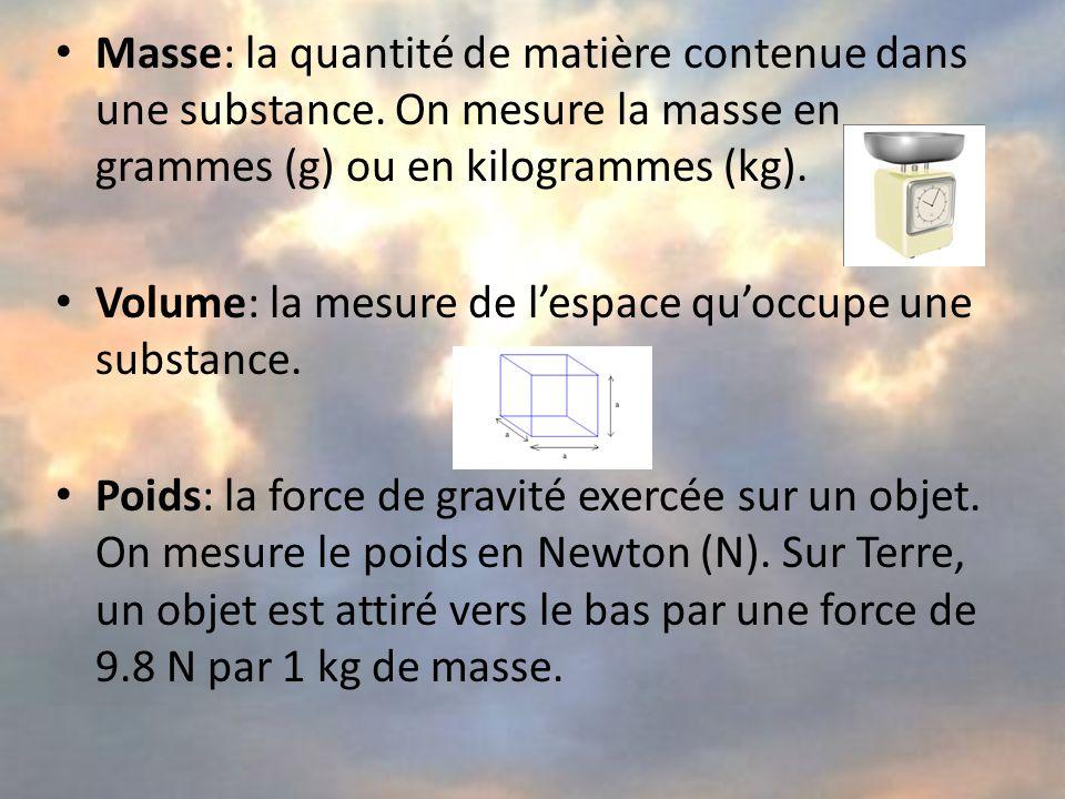 Masse: la quantité de matière contenue dans une substance