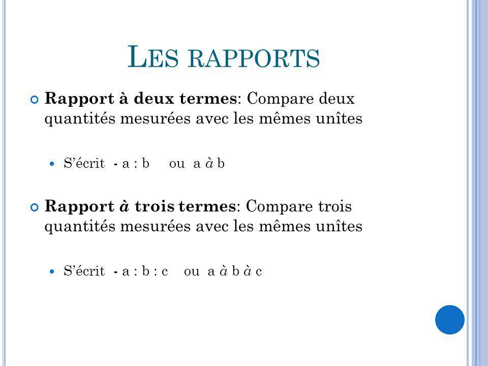 Les rapports Rapport à deux termes: Compare deux quantités mesurées avec les mêmes unîtes. S'écrit - a : b ou a à b.