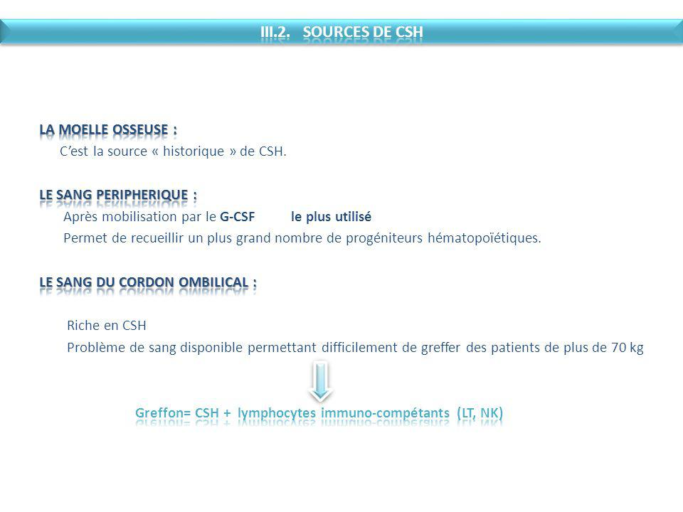 III.2. SOURCES DE CSH LA MOELLE OSSEUSE :