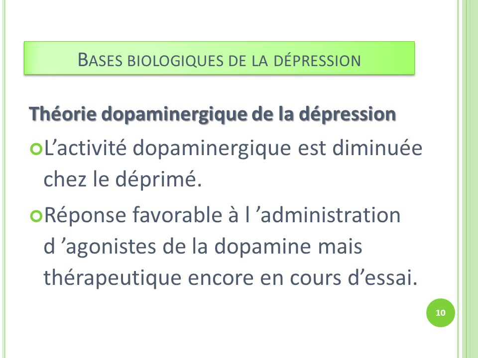 Bases biologiques de la dépression