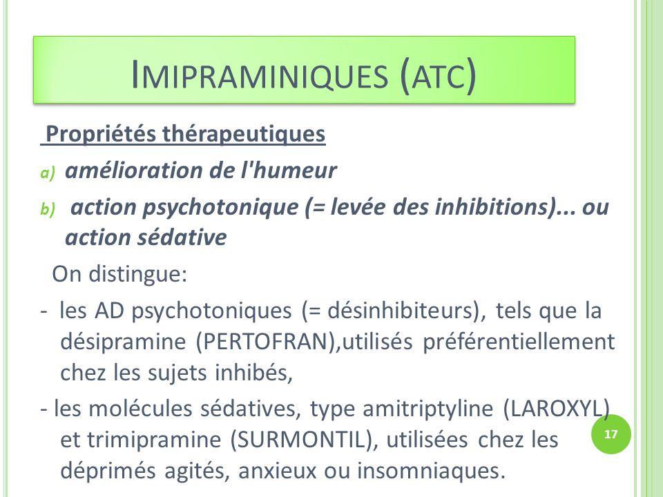Imipraminiques (atc) Propriétés thérapeutiques