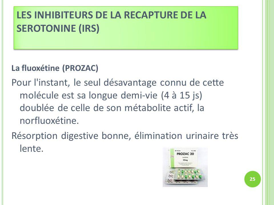 LES INHIBITEURS DE LA RECAPTURE DE LA SEROTONINE (IRS)