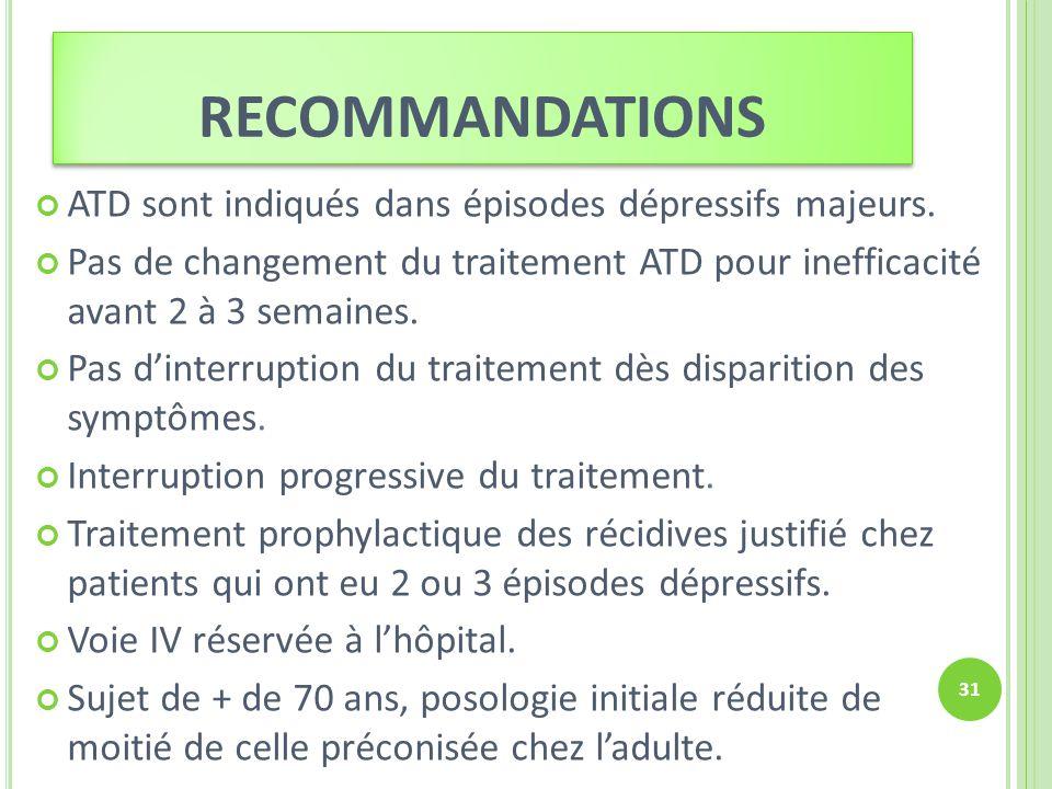 recommandations ATD sont indiqués dans épisodes dépressifs majeurs.