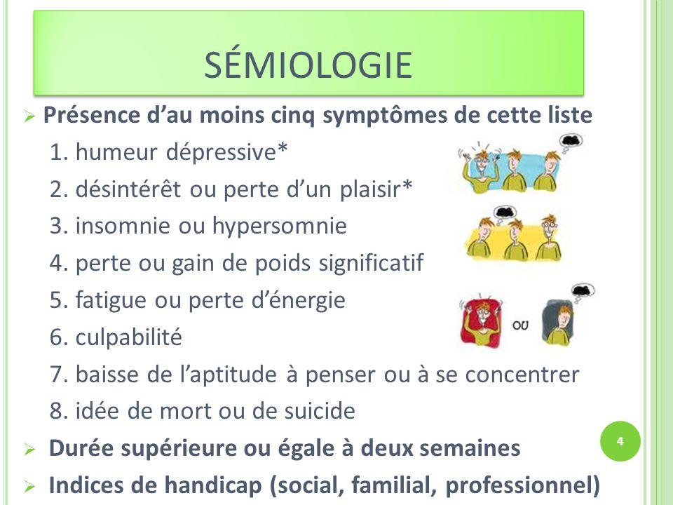sémiologie Présence d'au moins cinq symptômes de cette liste