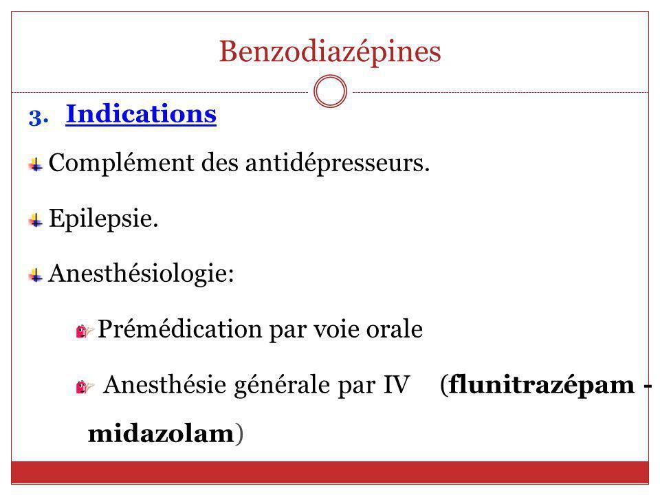 Benzodiazépines Indications Complément des antidépresseurs. Epilepsie.