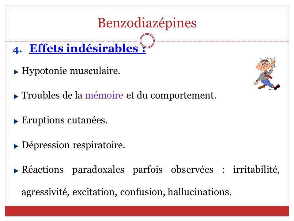 Benzodiazépines Effets indésirables : Hypotonie musculaire.