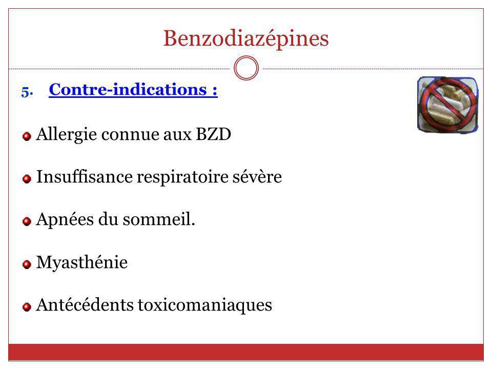 Benzodiazépines Allergie connue aux BZD