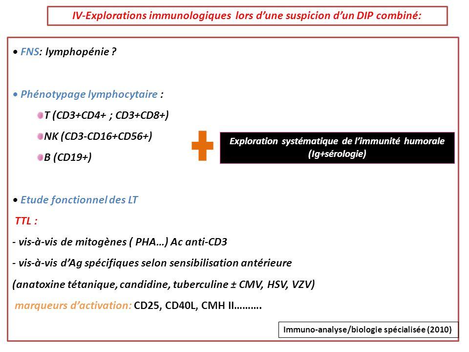IV-Explorations immunologiques lors d'une suspicion d'un DIP combiné:
