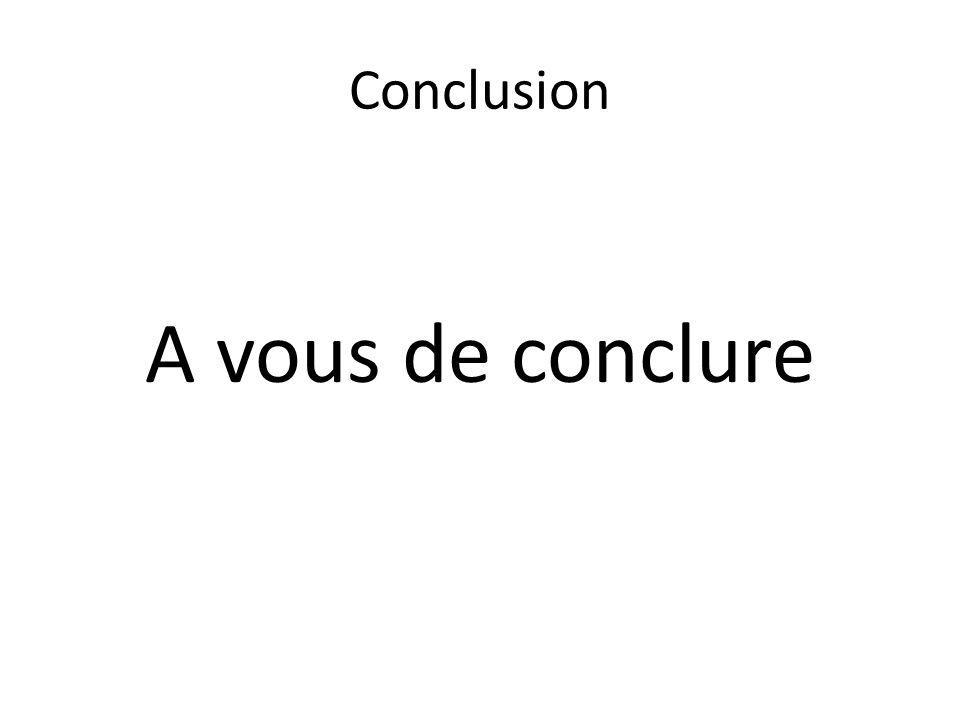 Conclusion A vous de conclure